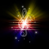 Glowing musical symbols Royalty Free Stock Photos