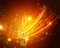 Glowing musical symbols. Abstract glowing musical symbols with stars royalty free illustration
