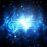 Glowing musical symbols. On blue background royalty free illustration