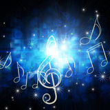 Glowing musical symbols. With stars royalty free illustration