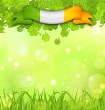 Glowing nature background with shamrocks, grass and Irish flag f Royalty Free Stock Photography