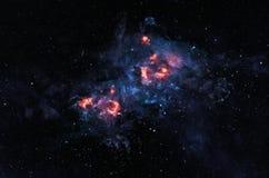 Glowing nebula. Bright intricate nebula glowing in deep space Stock Photo