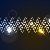 Glowing neon abstract waveform background Stock Photo