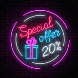 Glowing neon banner of big sale sign on dark brick wall background. Special offer symbol. Glowing neon banner of big sale sign on dark brick wall background stock illustration