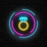 Glowing neon banner including a ring with a diamond on dark brick wall background. Jewelry icon in circle frames. Vector illustration vector illustration