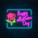 Glowing neon banner of world mothers day on dark brick wall background. Spring greeting card. To mom holiday with rose flower and lettering. Vector illustration Stock Photos