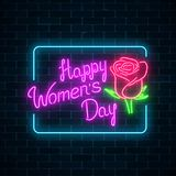 Glowing neon banner of world womens day on dark brick wall background. Spring greeting card to march 8. Glowing neon banner of world womens day on dark brick vector illustration