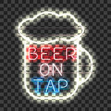 Glowing neon bar sign BEER ON TAP Royalty Free Stock Photos