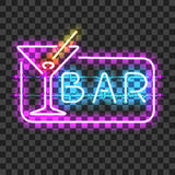 Glowing neon bar sign with martini glass. On transparent background. Shining and glowing neon effect. All elements are separate units with wires, tubes vector illustration