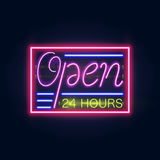 Glowing Neon Bar Sign for Your Custom Banner. realistic design. With the inscription open. Royalty Free Stock Image