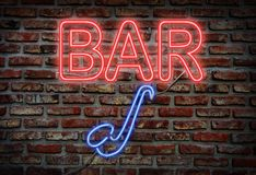 Jazz bar neon sign stock images