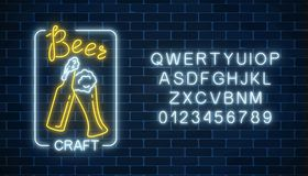 Glowing neon beer craft signboard in rectangle frame and alphabet. Luminous advertising sign of night club with bar. Glowing neon beer craft signboard in stock illustration