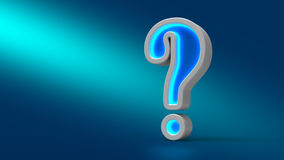 Glowing neon big question mark on the table, on blue background, 3d illustration. Royalty Free Stock Image