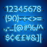 Glowing Neon Blue Numbers. Used pattern brushes included. There are fastening elements in a symbol palette Royalty Free Stock Images
