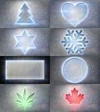 Glowing neon christmas symbols Royalty Free Stock Photography