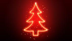 Glowing neon christmas tree Stock Photos