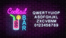 Glowing neon cocktails bar signboard with alphabet. Luminous advertising sign of night club with bar. Glowing neon cocktails bar signboard with alphabet on dark Stock Photography