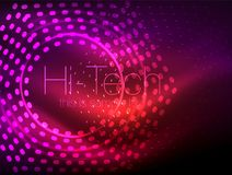Glowing neon dotted shape abstract background, technology shiny concept design, magic space geometric background. Vector illustration royalty free illustration
