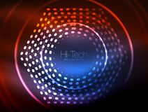 Glowing neon dotted shape abstract background, technology shiny concept design, magic space geometric background. Vector illustration stock illustration
