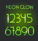 Glowing neon elements. Lighting digits Stock Photography