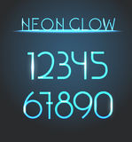 Glowing neon elements. Lighting digits Royalty Free Stock Images