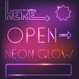 Glowing neon elements Royalty Free Stock Images