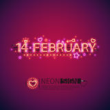 Glowing Neon 14 February. Sign for your Valentines day decor. Used neon brushes included. There are fastening elements in a symbol palette Royalty Free Stock Images