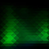 Glowing neon green rows of triangles background, square Stock Photos