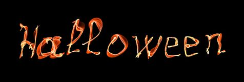 Glowing neon Halloween word over black Royalty Free Stock Photo