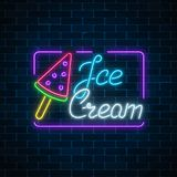 Glowing neon ice cream cafe signboard on dark brick wall background. Water ice-cream lolly. City neon advertising street sign with text. Vector illustration Stock Photo