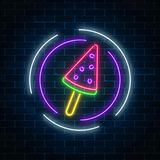 Glowing neon ice cream cafe signboard on dark brick wall background. Watermelon ice-cream lolly. City neon advertising street sign. Vector illustration Royalty Free Stock Photography