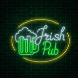 Glowing neon irish pub signboard in ellipse frame on dark brick wall background. Luminous advertising sign Stock Photography