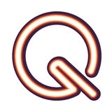 Glowing neon letter Q Stock Photos
