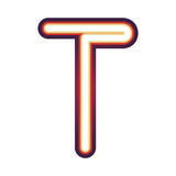 Glowing neon letter T Stock Photos