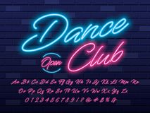 Neon light font vector illustration