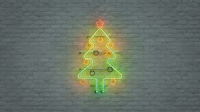 Glowing neon light christmas tree symbol 3D render illustration. Glowing neon light christmas tree symbol. Abstract winter holiday concept. 3D render stock illustration