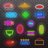 Glowing neon light signs illuminated  on transparent background. Design elements Vector illustration. Glowing neon light signs illuminated  on transparent Stock Photography