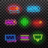 Glowing neon light signs illuminated on transparent background. Design elements Vector illustration. Glowing neon light signs illuminated on transparent vector illustration
