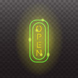 Glowing neon light signs illuminated  on transparent background. Design elements Vector illustration. Glowing neon light signs illuminated  on transparent Stock Images