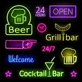 Glowing Neon Lights Bar Signs on Black Background. Assorted Glowing Colorful Neon Lights for Bar Signs on Black Background royalty free illustration