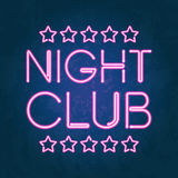 Glowing neon lights Night Club signboard. Vector illustration of glowing neon lights Night Club signboard on dark textured background. Isolated letters and stars Royalty Free Stock Photos