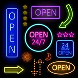 Glowing Neon Lights for Open Signs Stock Images