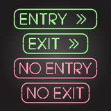 Glowing neon lights signs. Vector illustration of glowing neon lights signs - Entry, Exit, No entry, No exit - on dark transparent background.  objects, easy to Stock Images