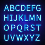 Glowing neon lights vector signs, typeset, letters, font, alphabet. Glowing neon lights vector signs, typeset, letters, font. Alphabet neon style, illuminated Royalty Free Stock Photo