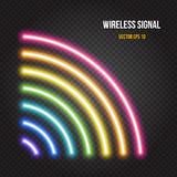 Glowing neon lights wireless signal symbol in rainbow colors. Glowing neon lights wireless or radio signal symbol in rainbow colors on dark transparent Stock Images