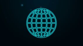 Glowing neon line Earth globe icon isolated on black background. 4K Video motion graphic animation