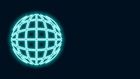 Glowing neon line Earth globe icon isolated on black background. World or Earth sign. Global internet symbol. Geometric