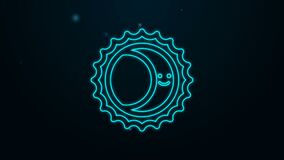 Glowing neon line Eclipse of the sun icon isolated on black background. Total sonar eclipse. 4K Video motion graphic