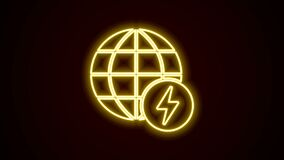 Glowing neon line Global energy power planet with flash thunderbolt icon isolated on black background. Ecology concept