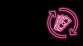 Glowing neon line Refund money icon isolated on black background. Financial services, cash back concept, money refund